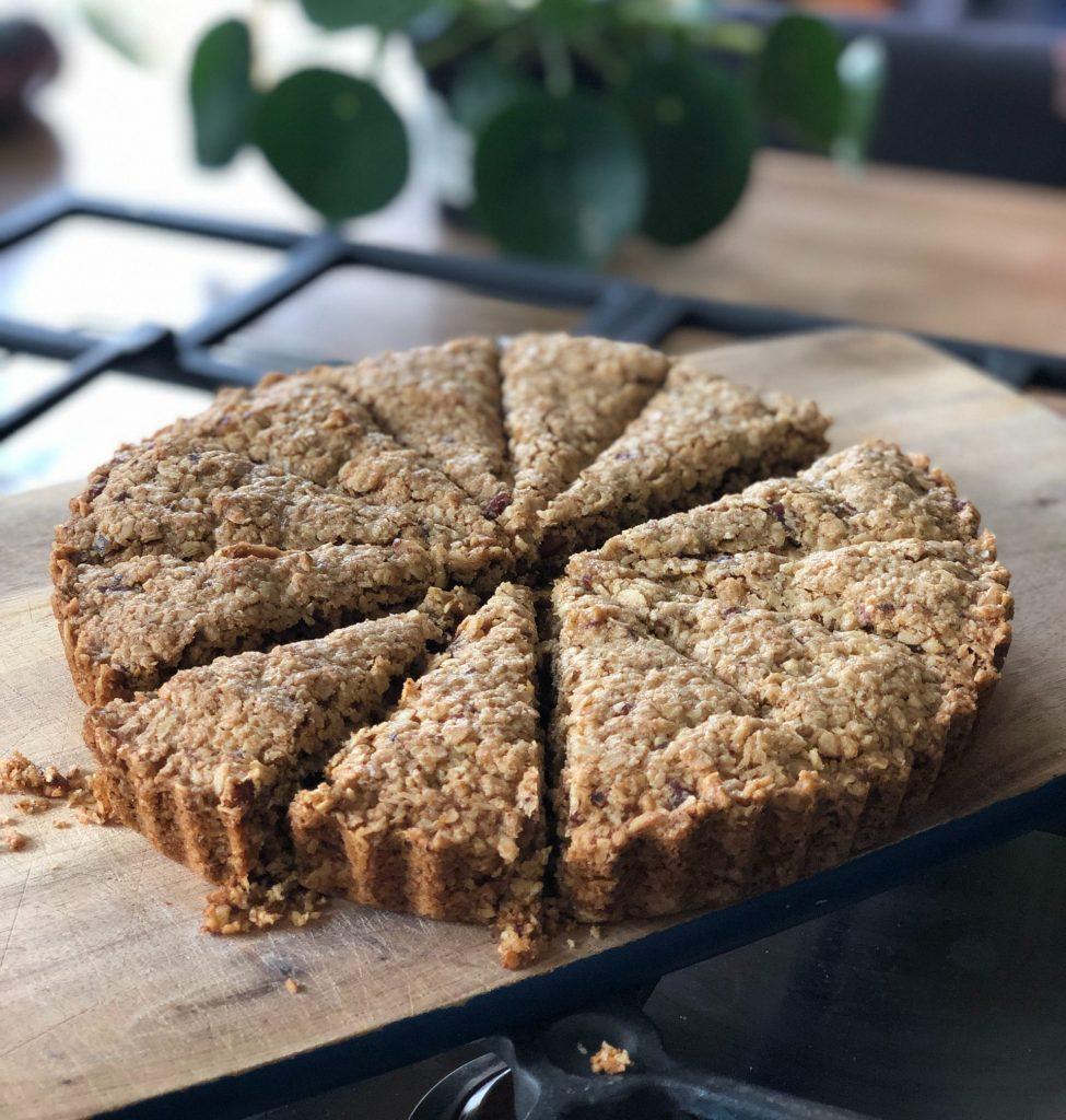 sliced pie on wooden board